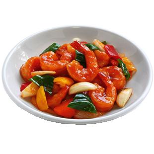 Креветки с овощами в кисло-сладком соусе